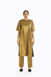 Handwoven Gold on Gold Metallic Longline Trouser