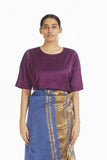 Handwoven Purple Satin Blouse