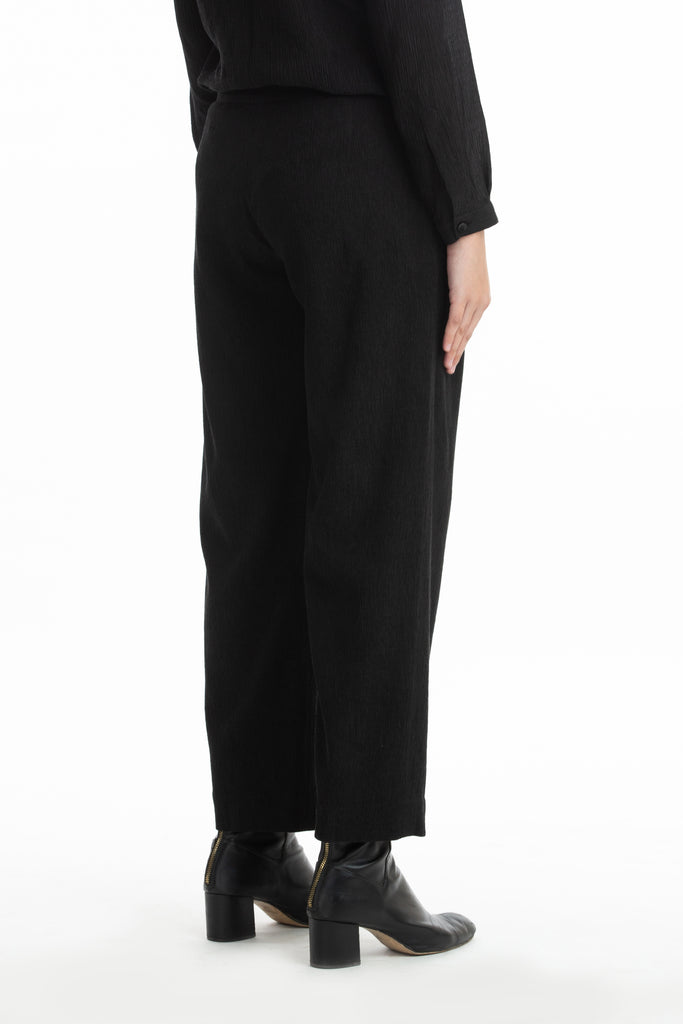 Handwoven Black Pintuck Panelled Trousers