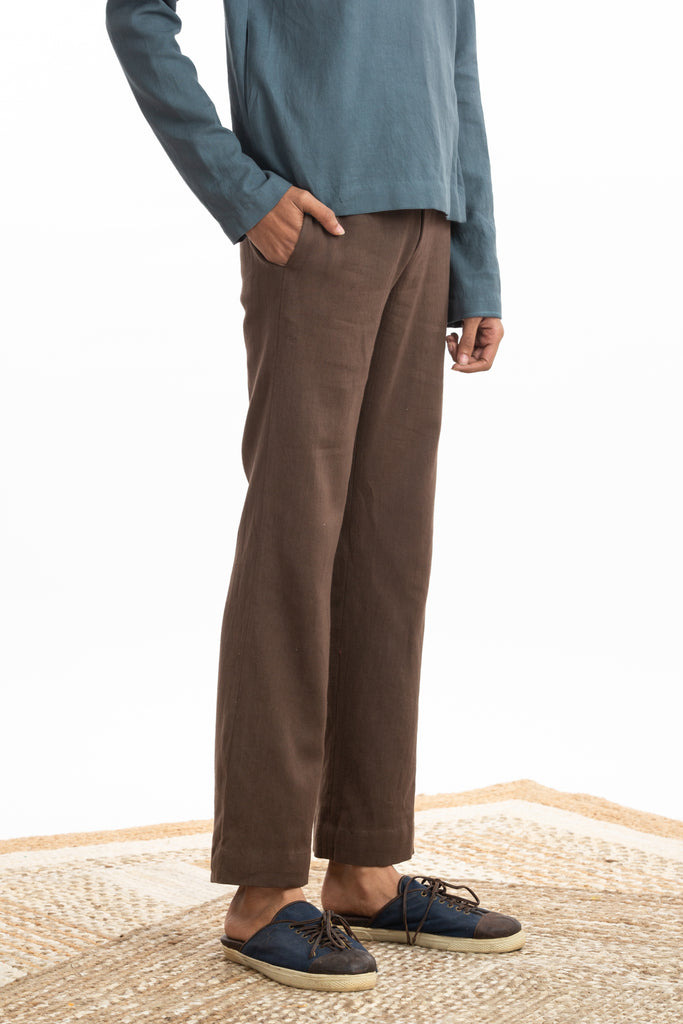 Handwoven Straight Brown Trouser