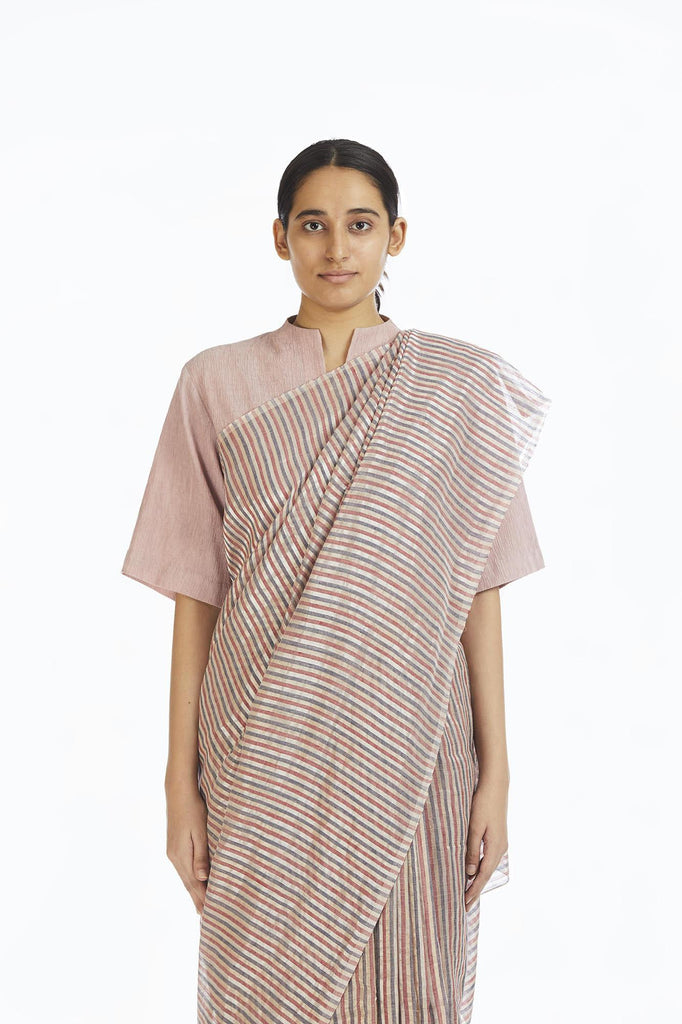 Handwoven Candy Striped Saree