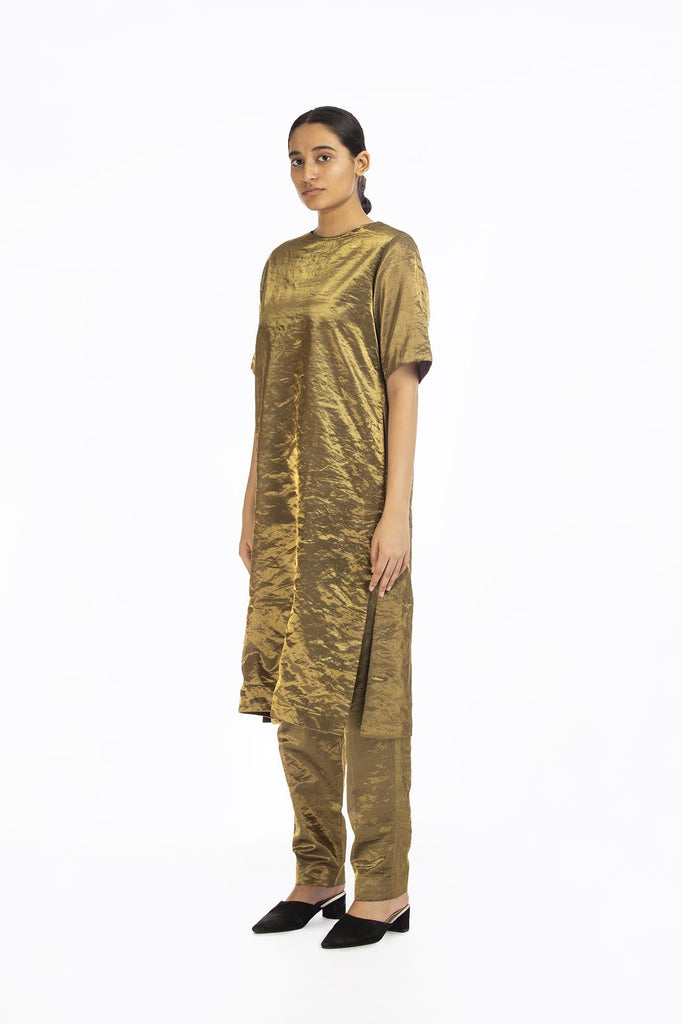 Handwoven liquid Molten Gold Metallic Tunic