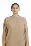 Handwoven Beige Cotton Pullover Top