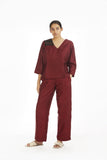 Handwoven Red Silk Straight Pants
