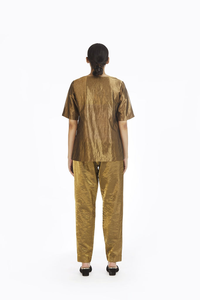 Handwoven Liquid Molten Gold Metallic Top