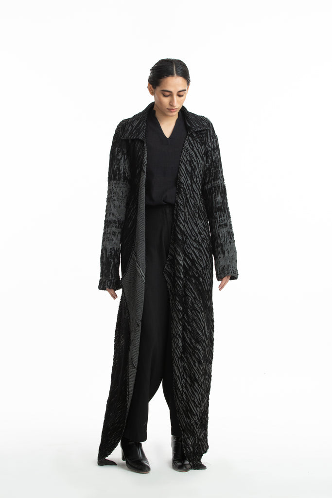 Handwoven Black Grey Merino Wool Long Coat