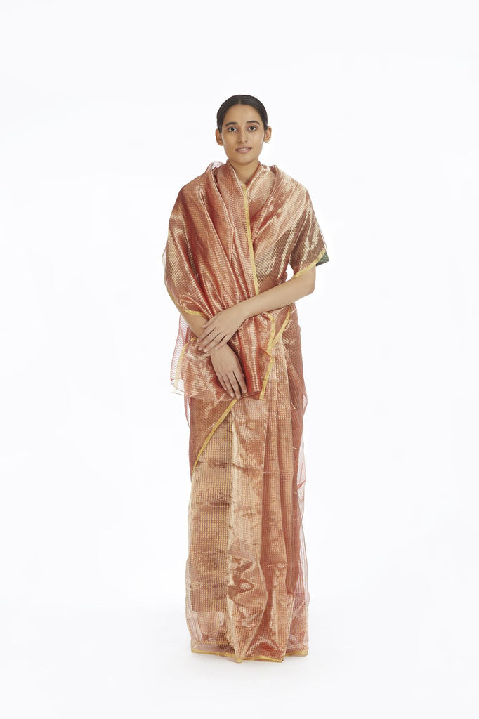 Handwoven Liquid Molten Pink Textured Metallic Saree