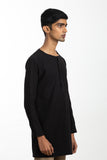 Handwoven Black Zen Shirt Kurta