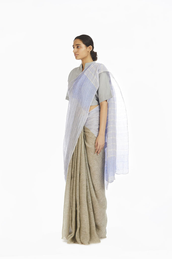 Handwoven Engineered Olive Blue Striped Saree