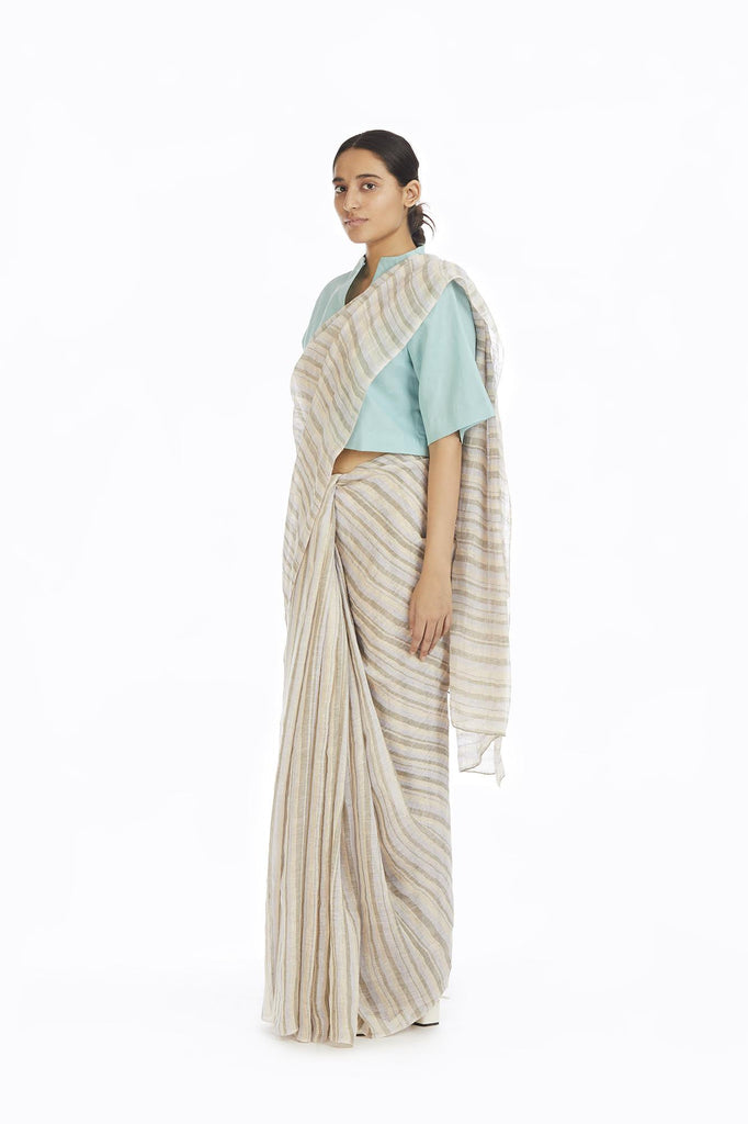 Handwoven Yellow Green Blue Striped Saree