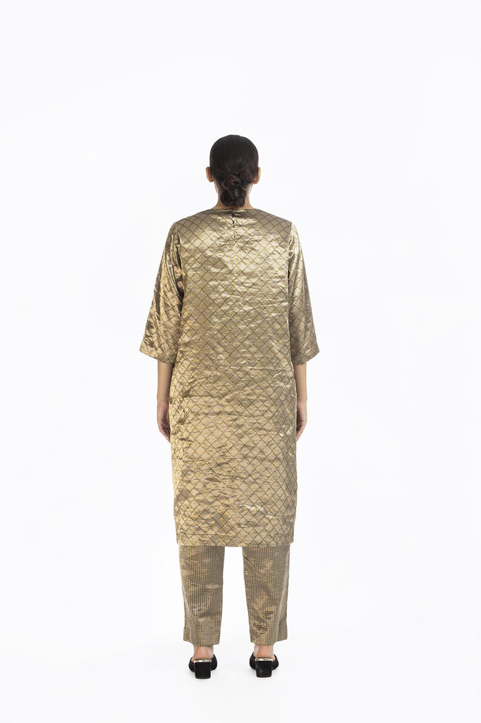 Handwoven Silver on Gold Longline Tunic
