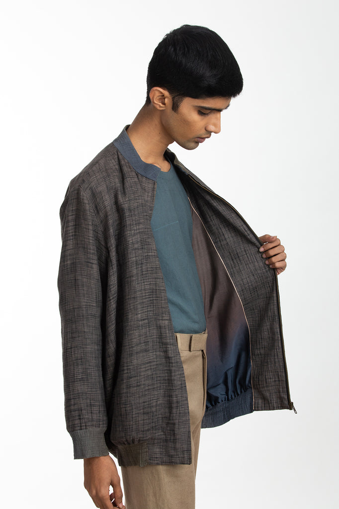 Handwoven Black Ikat Bomber Jacket
