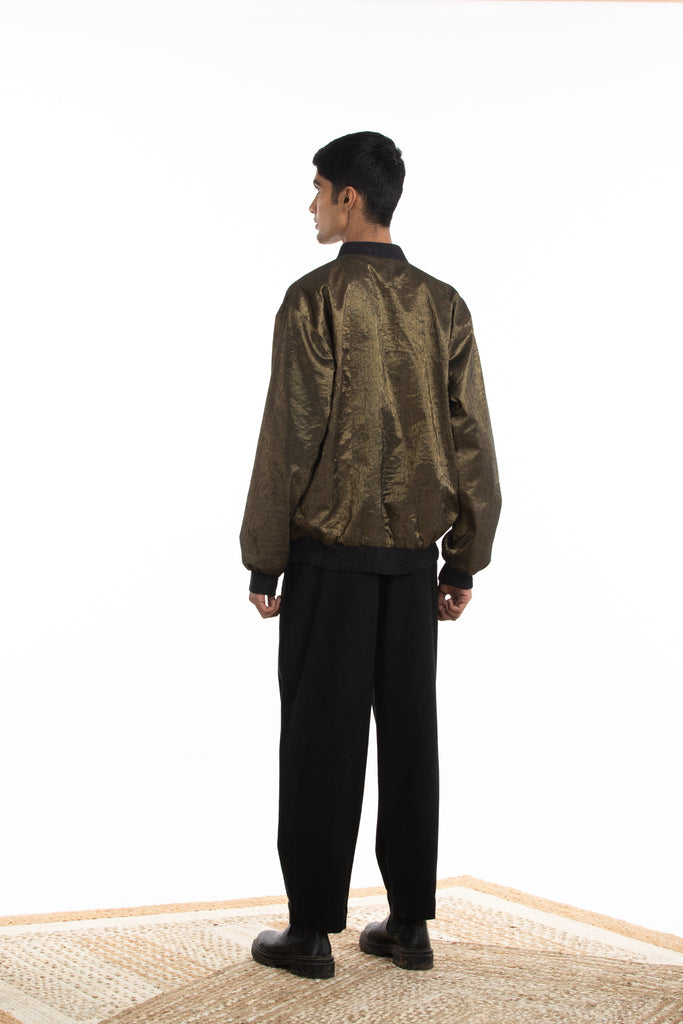 Handwoven Molten Gold Metallic Bomber Jacket
