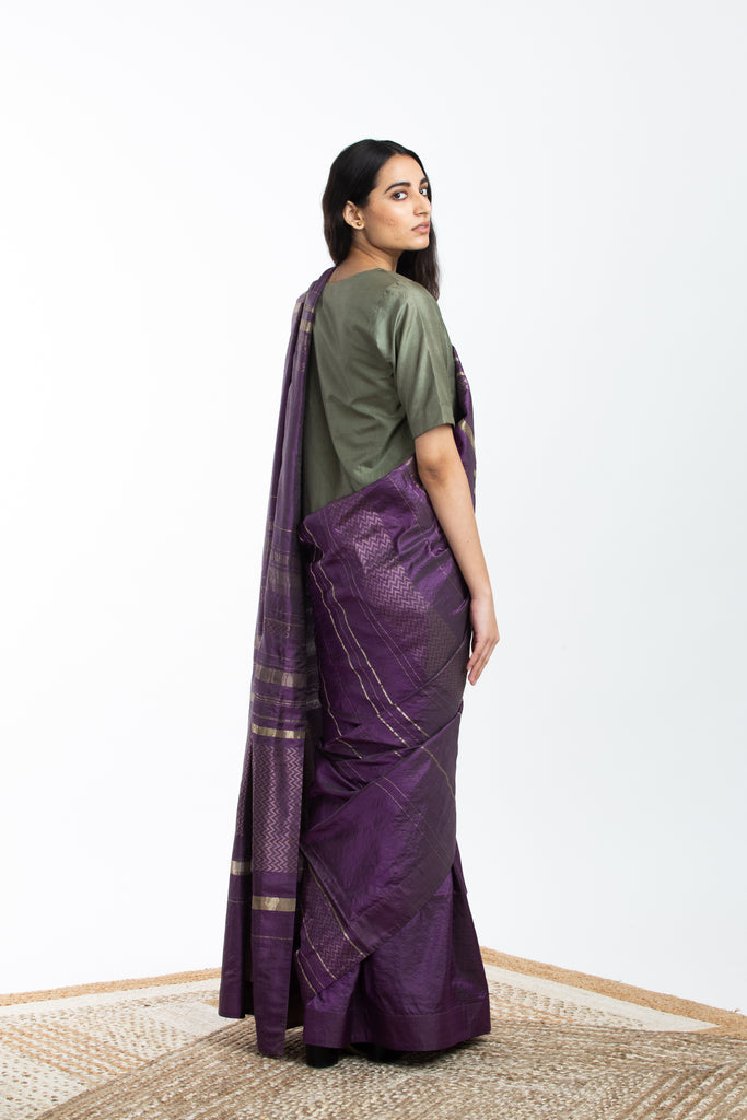 HandwovenPurple Engineered Silk Saree