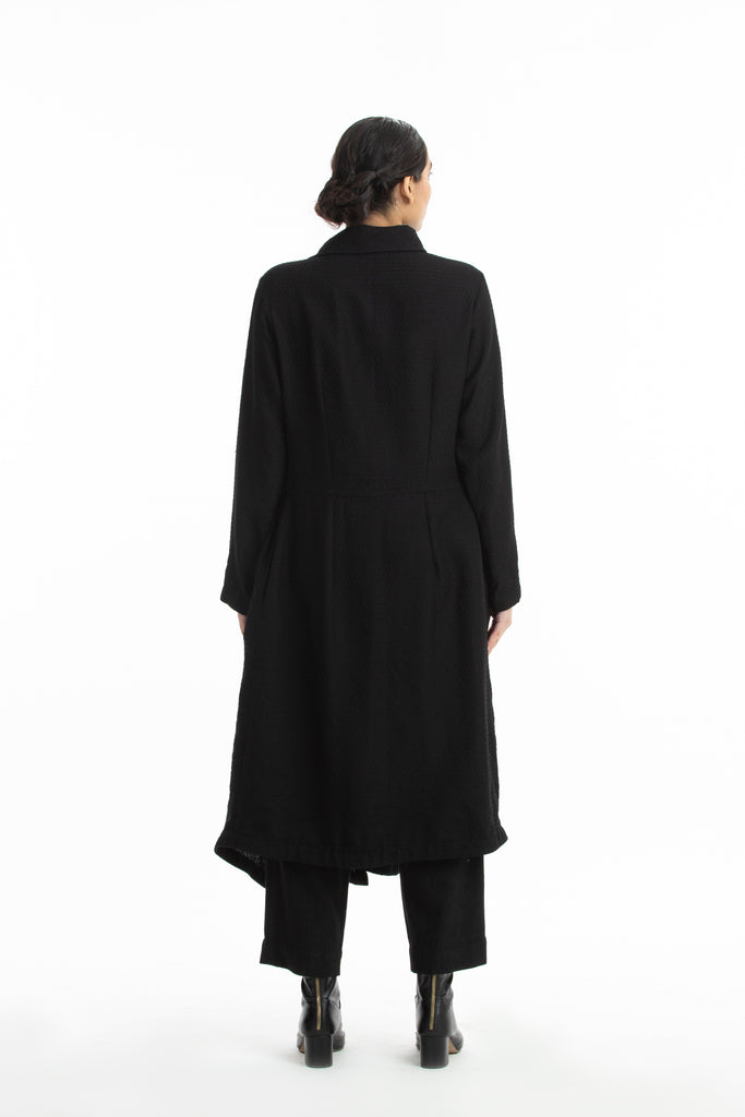 Handwoven Collared Side Gathered Black Marino Wool Coat