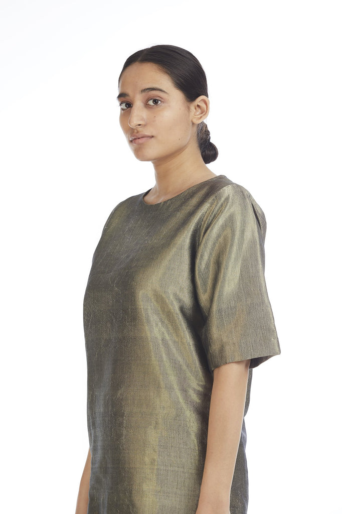 Handwoven Gold Crack Top