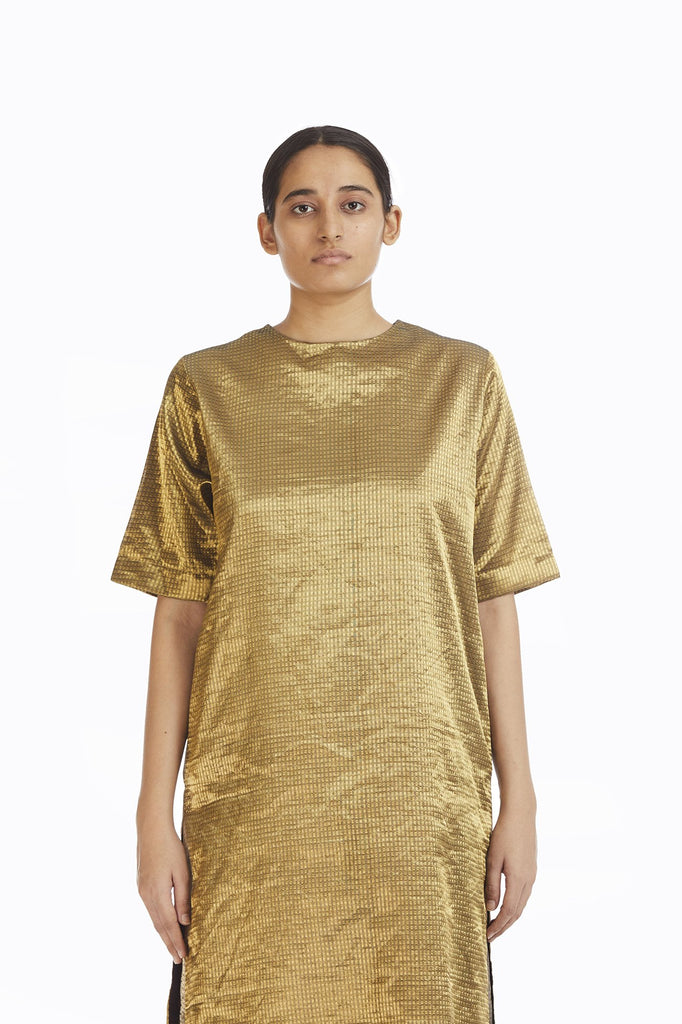 Handwoven Liquid Molten Gold Textured MetallicTunic