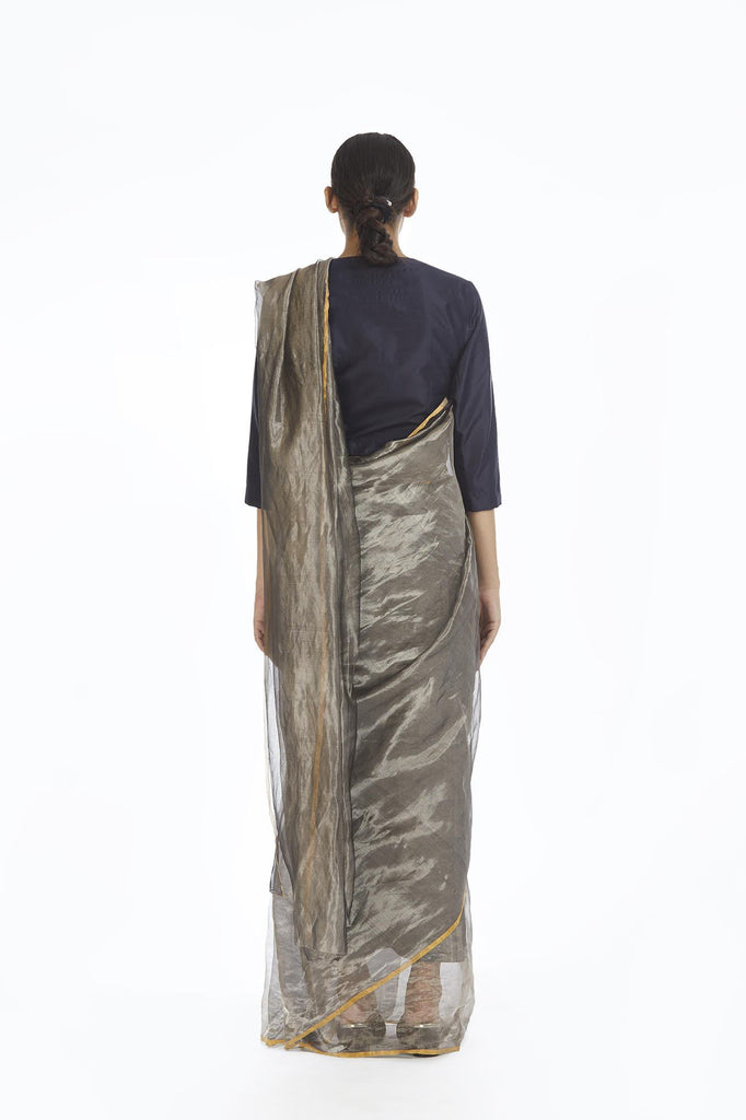 Handwoven Liquid Molten Silver Metallic Saree