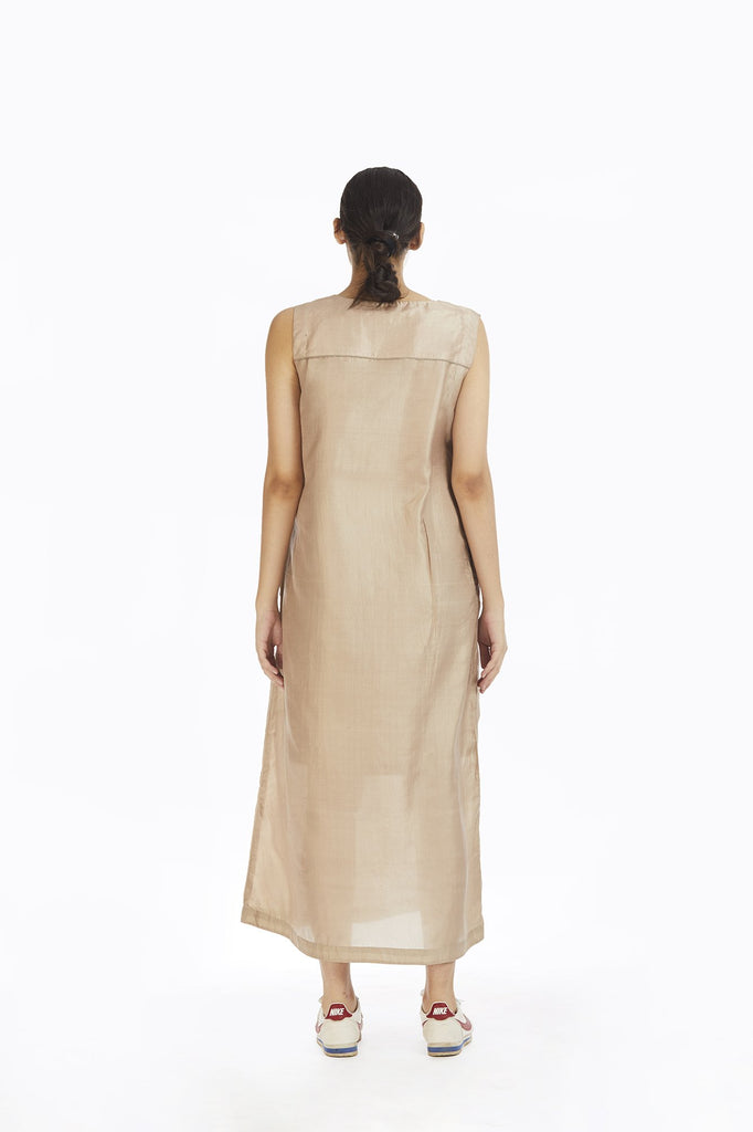 Handwoven Ecru Silk Sleeveless Long Dress