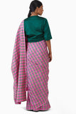 Handwoven Pink Green Striped Silk Saree