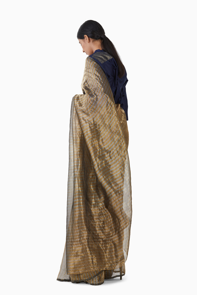 Handwoven Silver Gold Striped Saree