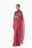 Handwoven Pink Gold Striped Metallic Saree