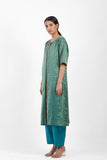 Handwoven Teal Gold Striped Buttoned Placket Tunic