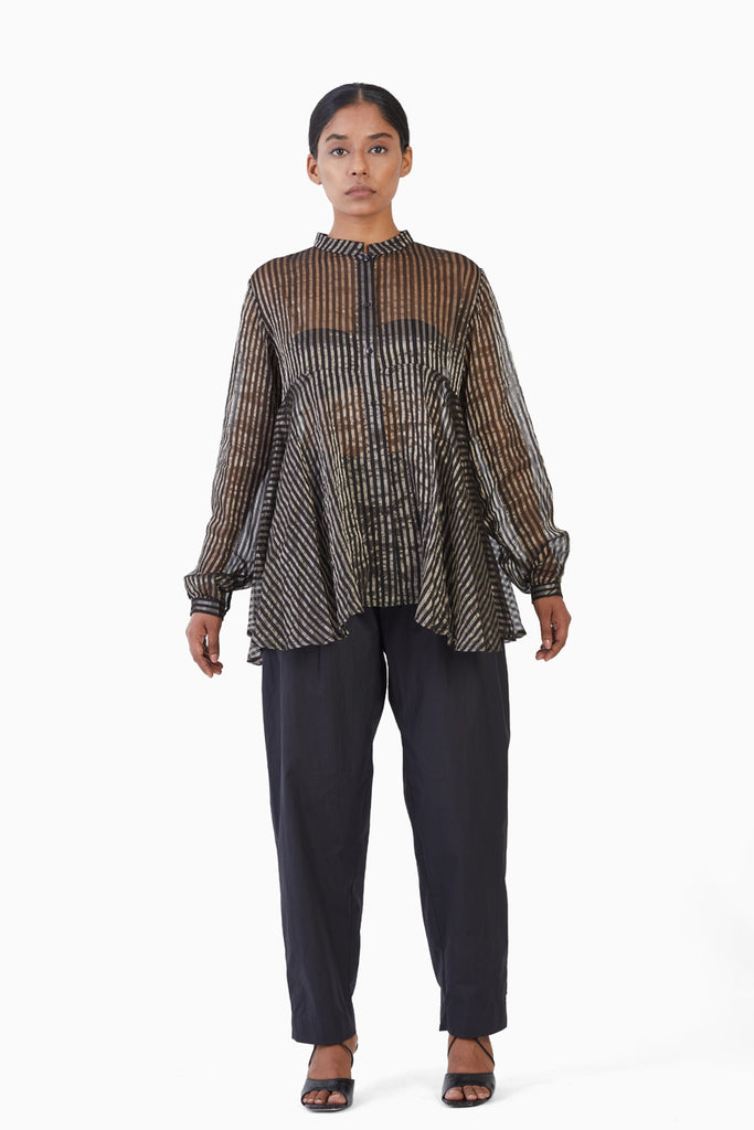 Handwoven Black Metallic Silk Flare Top