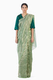 Handwoven Green Gold Striped Metallic Saree