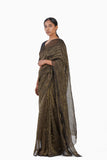 Handwoven Black Gold Striped Silk Zari Saree