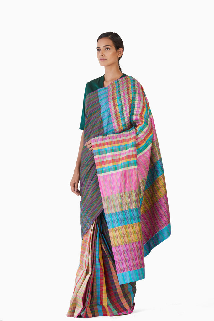 Handwoven Multicolored Block Engineered Saree