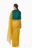 Handwoven Yellow  Gold Striped Silk Zari Saree