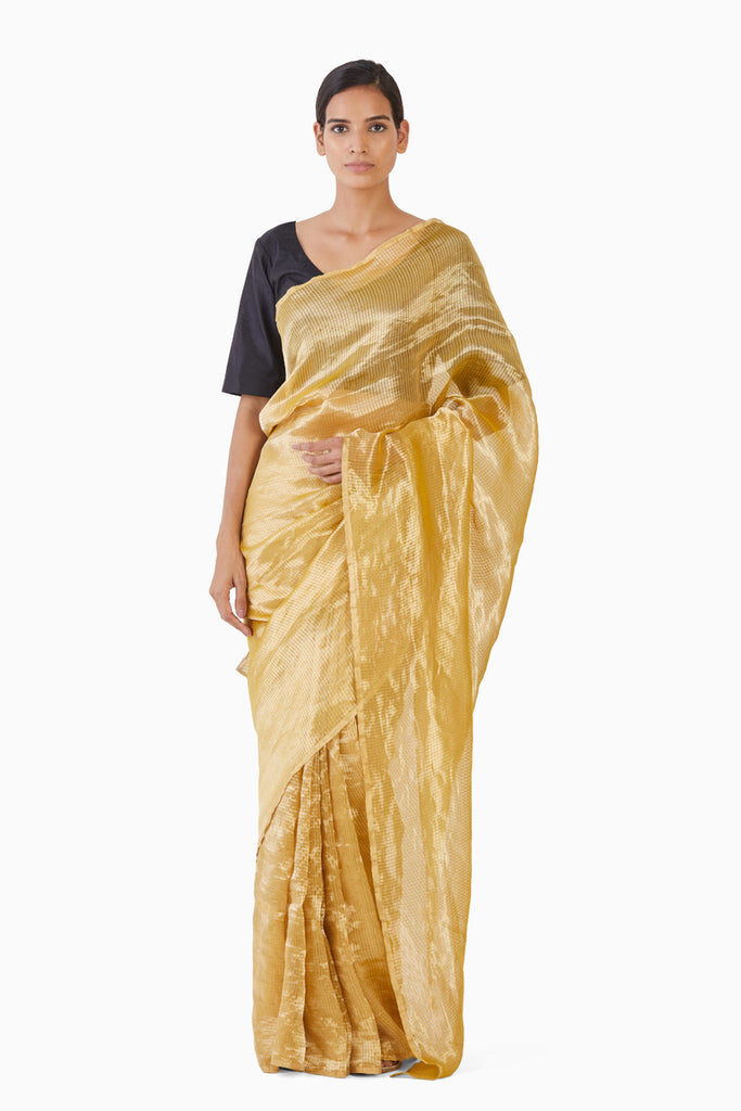 Handwoven Liquid Molten Yellow Textured Metallic Saree