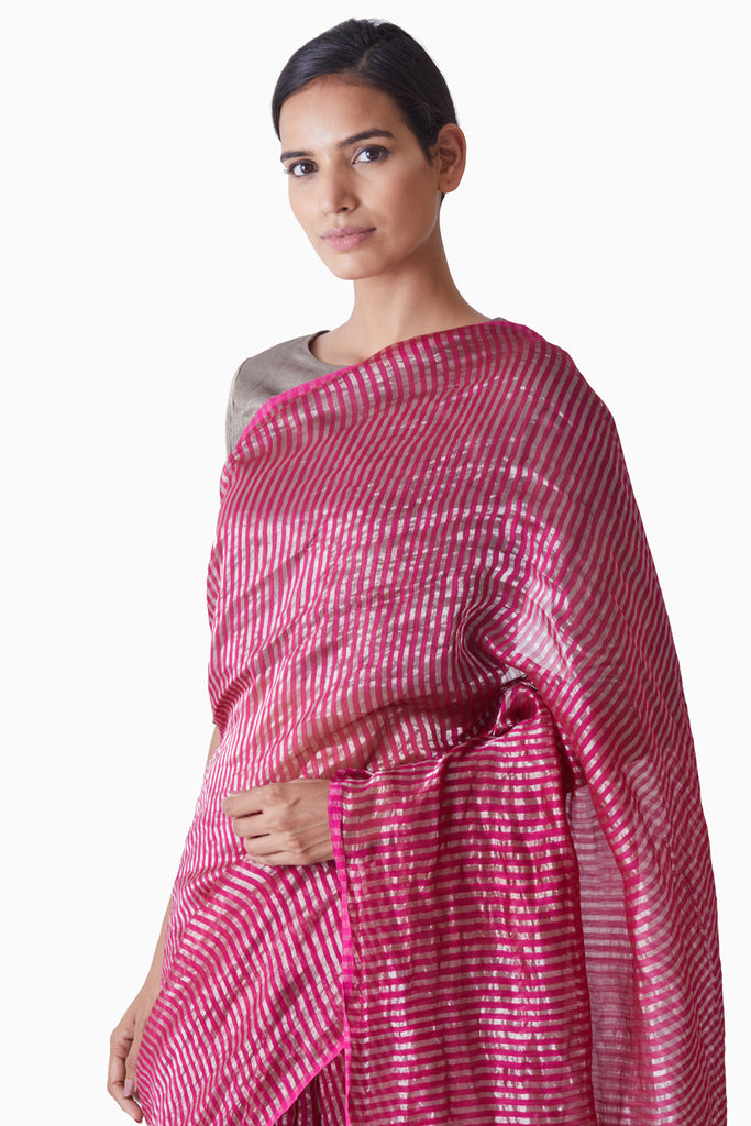 Handwoven Pink Silver Striped Saree