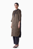 Handwoven Black Gold Short Button Placket Tunic