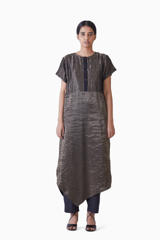 Handwoven Black thin Striped Asymmetrical metallic dress