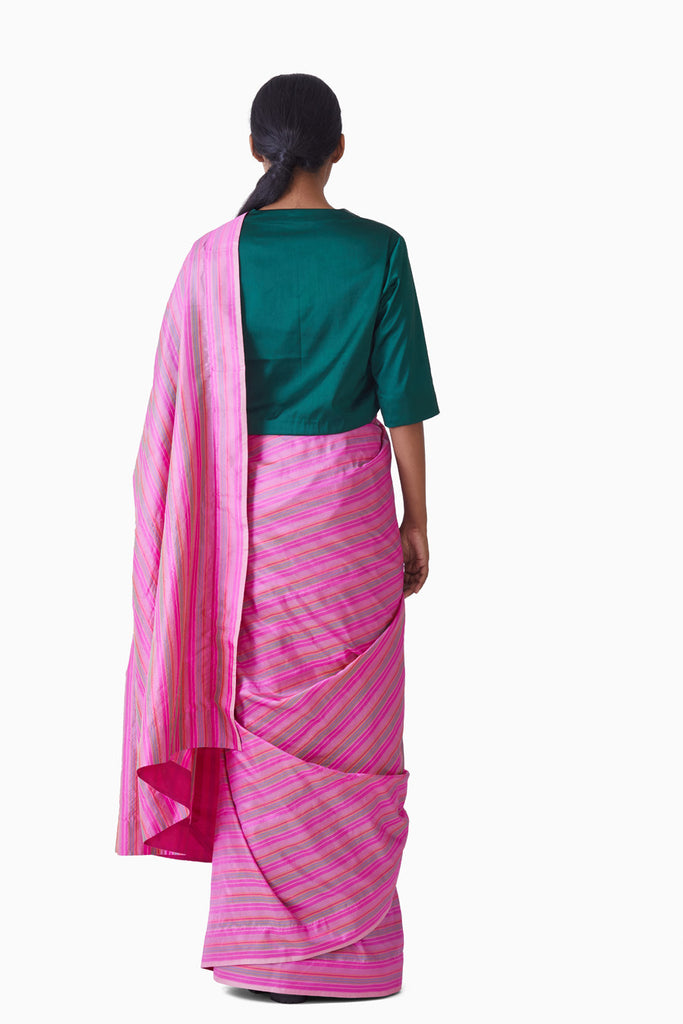 Handwoven Pink Multi Striped Silk Saree