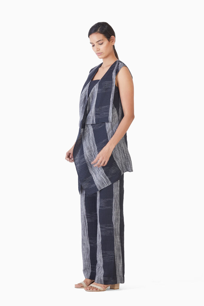 Handwoven Ikat Pintucked Cape