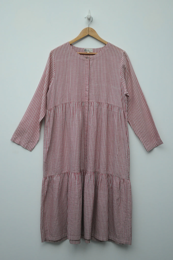 Handwoven Red Striped Layered Cotton Dress