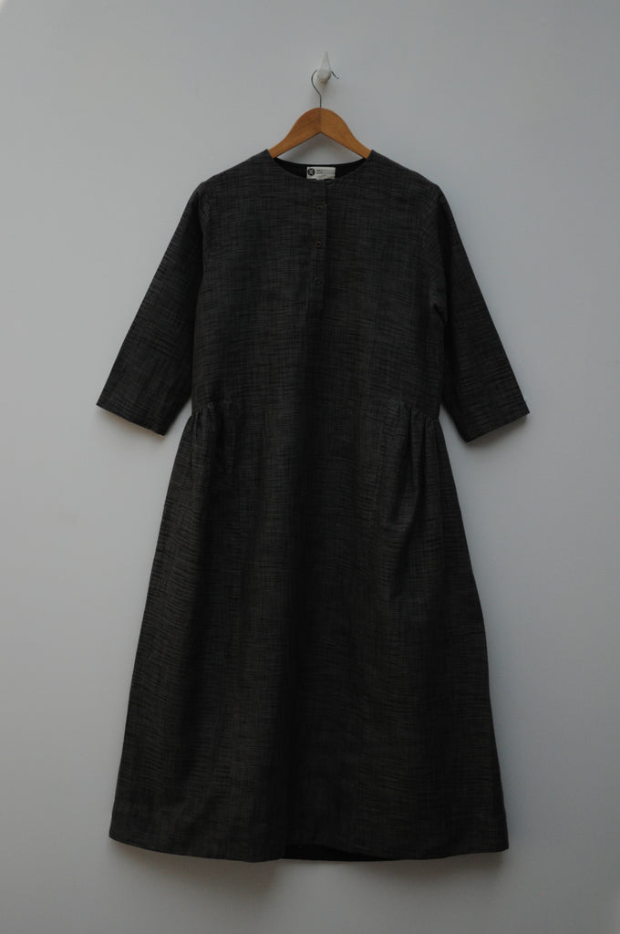 Handwoven Side Gathered Grey Ikat Dress