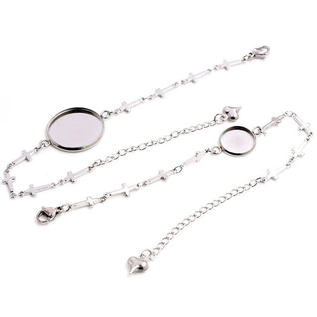 Stainless Steel Bracelet Chain Cross Round Cabochon Blank Base Settings Wholesale (2pcs)