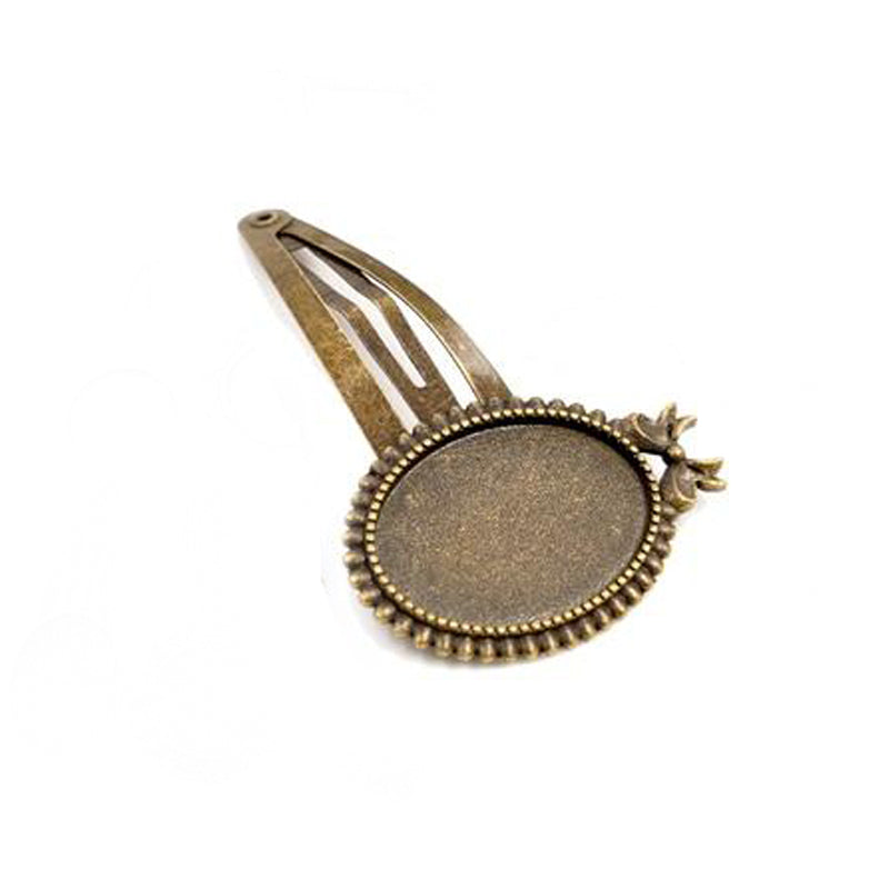 Hairpin Blank Base Setting Cabochon, Fit Oval 18x25mm, Vintage Style, Wholesale (5pcs)