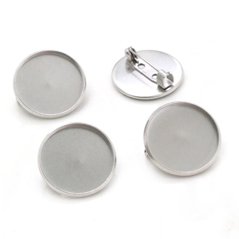Stainless Steel Brooch Pin Blank Base Cabochon Simple Style Setting Round Inner Size 20mm / 25mm Wholesale (10pcs)