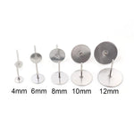 Stud Earrings Blank Base 4mm/ 6mm/ 8mm/ 10mm/ 12mm Wholesale (100pcs)