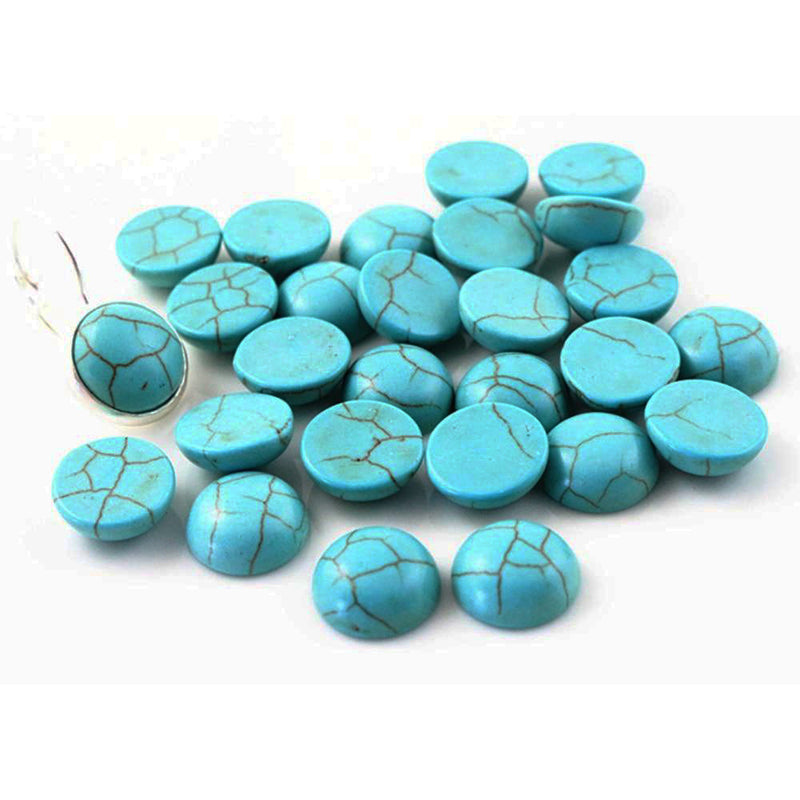 Round Flat Back Howlite Stone Cabochons 10mm / 12mm, High Quality, Wholesale (40pcs)