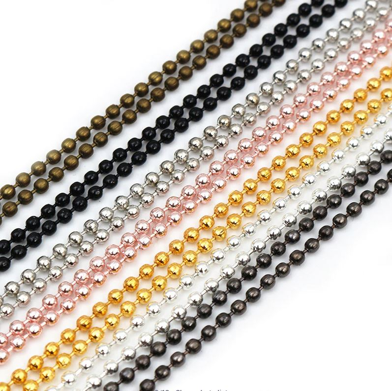 Chain Necklace Ball Beads 1.5mm/ 2mm/ 2.4mm, Length 65cm, Wholesale (5pcs)