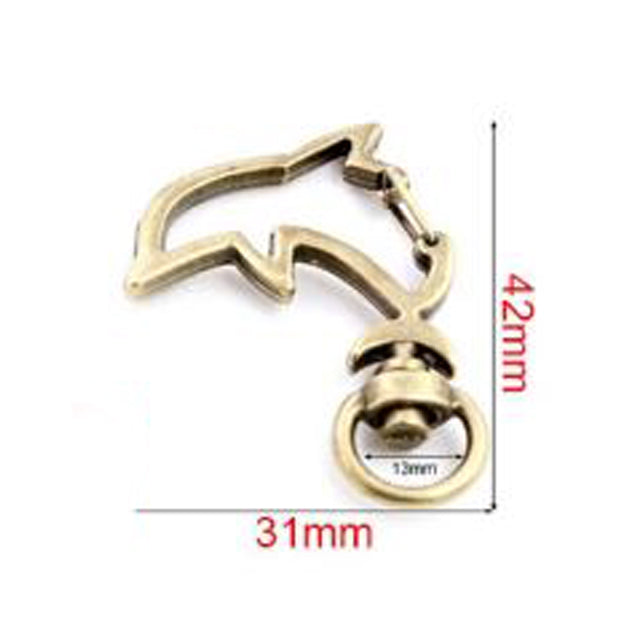 Snap Hook Trigger Clasps For Keychain, Dolphin, 31x42mm, Wholesale (10pcs)