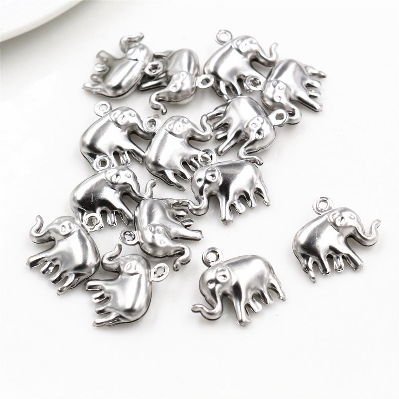 Stainless Steel Elephant Charms, 15x14mm, Wholesale (30pcs)