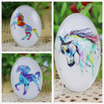 Oval Flat Back Photo Glass Cabochons 30x40mm, Horse, High Quality, Wholesale (2pcs)