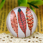 Round Flat Back Photo Glass Cabochons 25mm, Feathers, High Quality, Wholesale (5pcs)